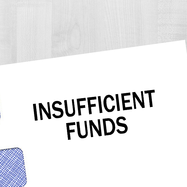 Insufficient Funds Rubber Stamp Imprint Example