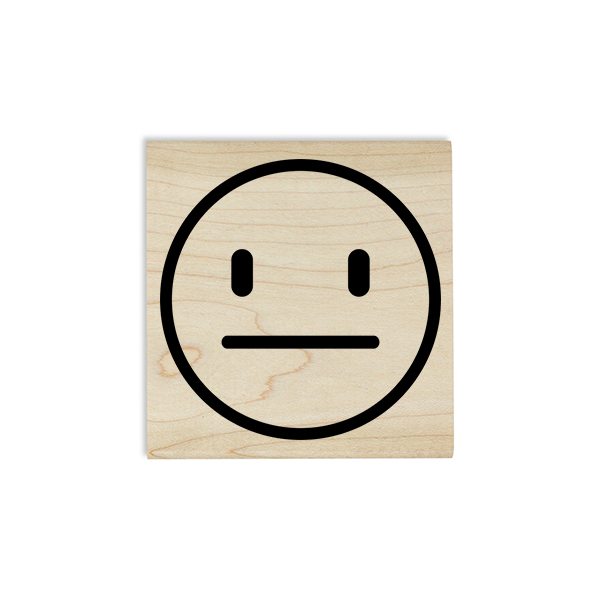 Straight Face Emoji Teacher Craft Stamp Body and Design