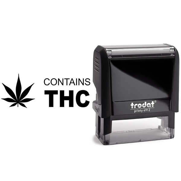 Contains THC Warning Rubber Stamp Body and Design