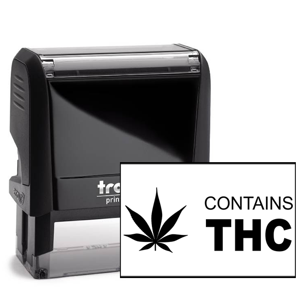 Contains THC Warning Rubber Stamp