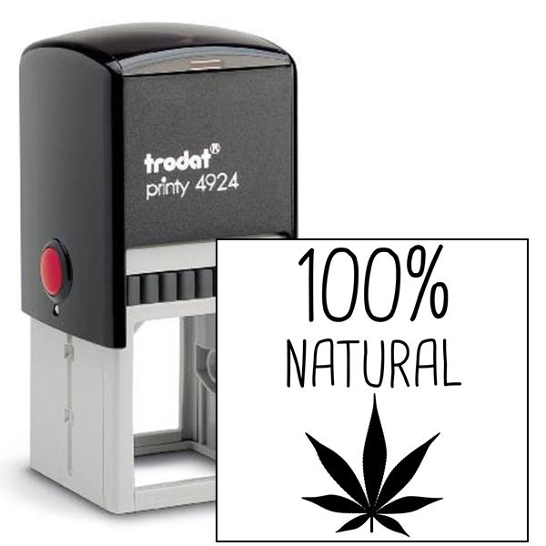 100% Natural Marijuana Rubber Stamp