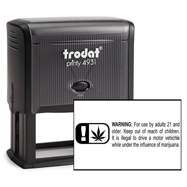 Warning Icon Marijuana Rubber Stamp