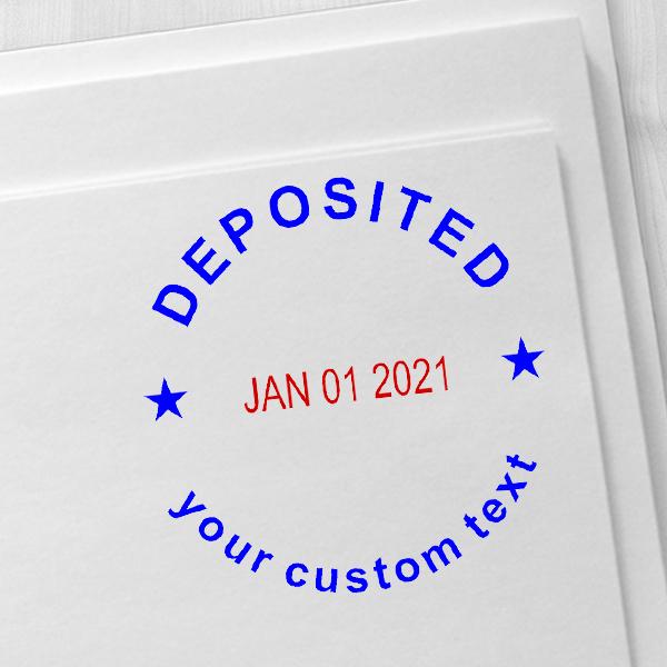 Custom Deposited Round Dater Stamp Imprint Example