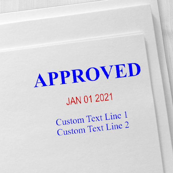 Approved Custom Two Line Dater Stamp Imprint Example