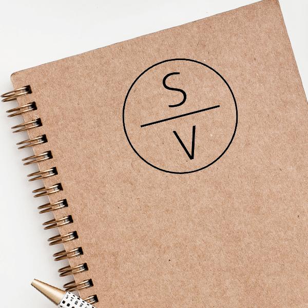 Slimline Vertical Monogram Stamp Imprint Example
