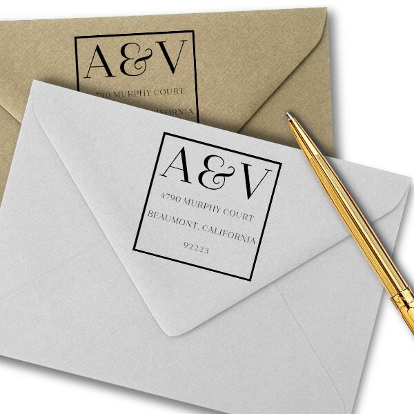 Azalea Monogram Address Stamp Imprint Example