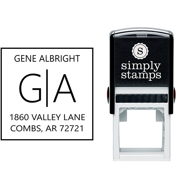 Split Monogram Address Stamp Body and Design