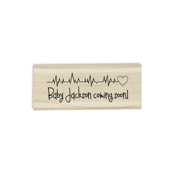 Heartbeat Custom Name Baby Announcement Craft Stamp Body and Design