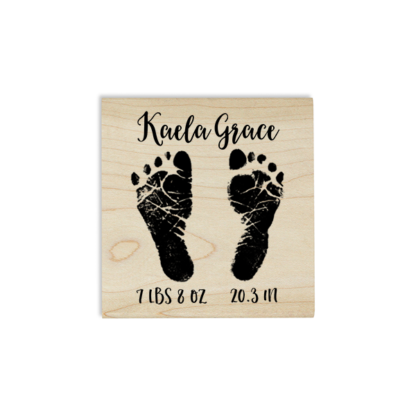 Custom Baby Footprints Craft Stamp Body and Design