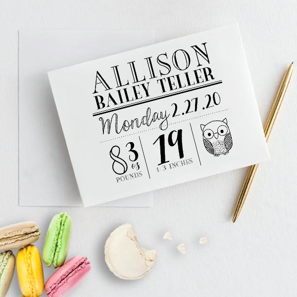 Custom Owl Baby Announcement Craft Stamp Imprint Example