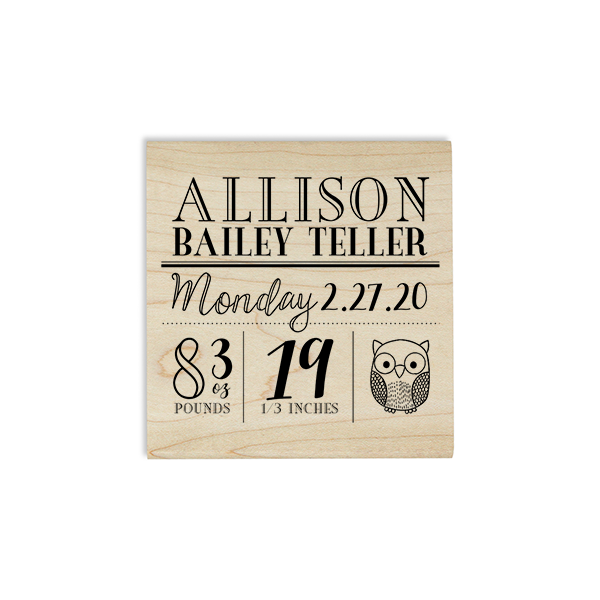 Custom Owl Baby Announcement Craft Stamp Body and Design