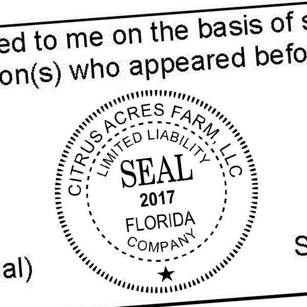 Limited Liability Company with Date Seal Rubber Stamp Imprint Example