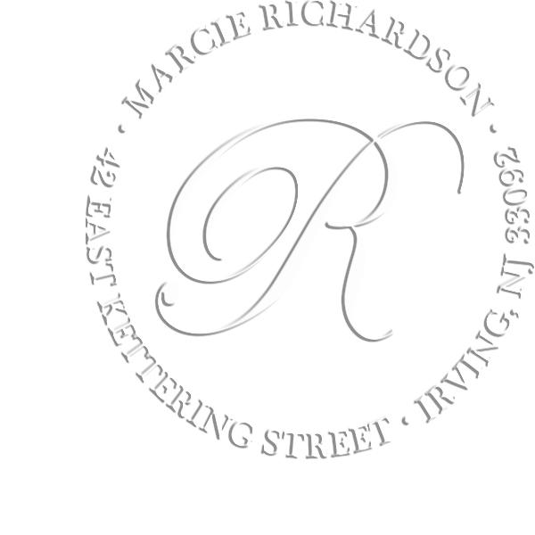 Calligraphy Monogram Address Luxury Embossed Impression