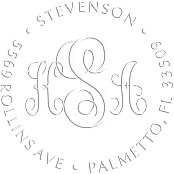 Fancy Monogram Address Luxury Embossed Impression