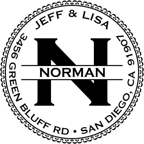 Custom round address stamp