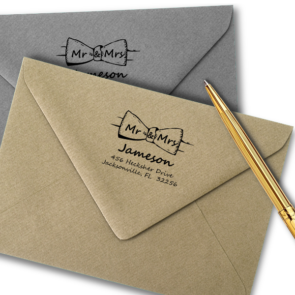 Bow Tie Mr. and Mrs. Custom Address Stamp Imprint Examples on Envelopes