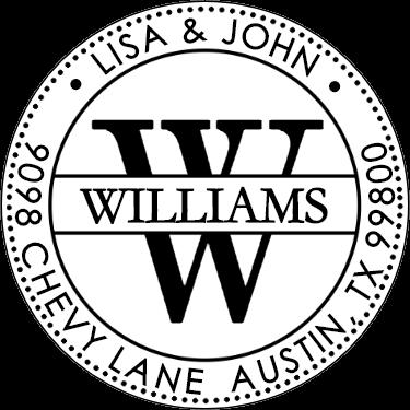 Williams Monogram Address Stamp