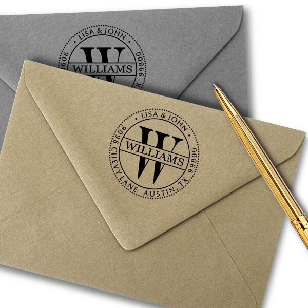 Williams Monogram Address Stamp Imprint Examples on Envelopes