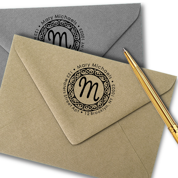 Pinafore Monogram Return Address Stamp Imprint Examples on Envelopes
