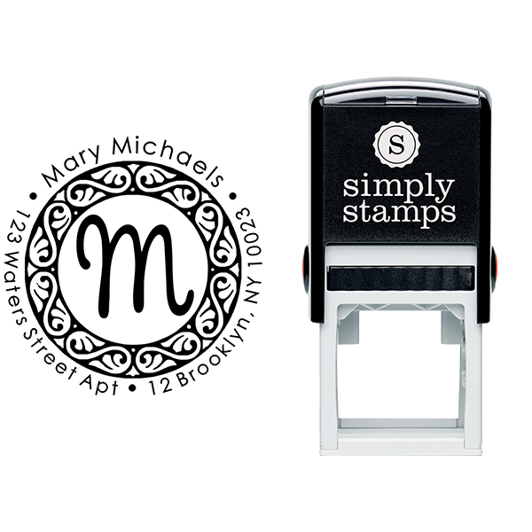 Pinafore Monogram Return Address Stamp Body and Imprint