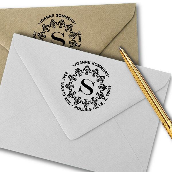 Fancy Monogram Address Stamp Imprint Examples on Envelopes