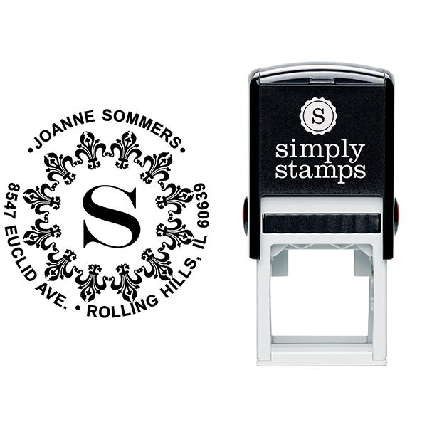Fancy Monogram Address Stamp Body and Imprint