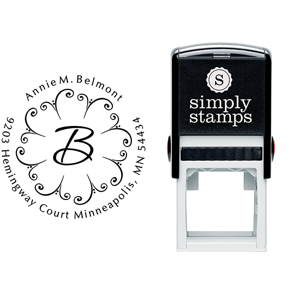 Fountain Design Monogram Address Stamp Body and Imprint