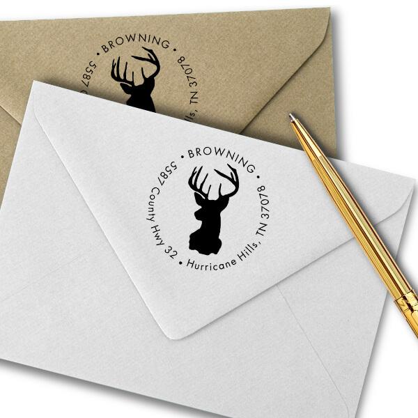 Deer Buck Round Animal Return Address Stamp Imprint Example