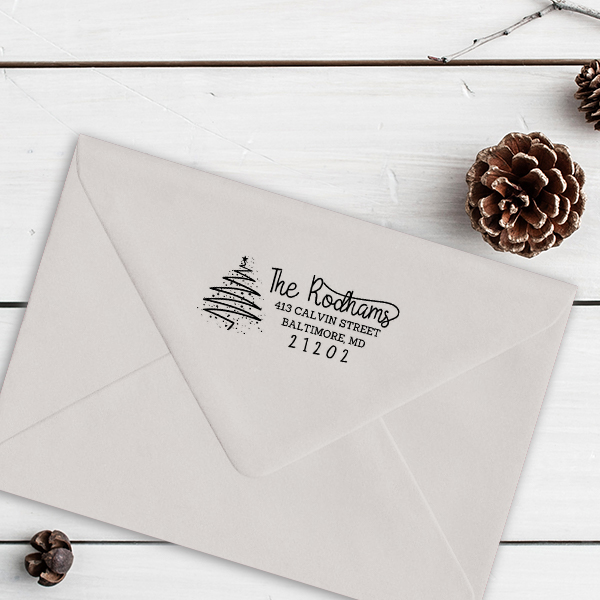 Rodham Script Christmas Tree Return Address Stamp Imprint Example