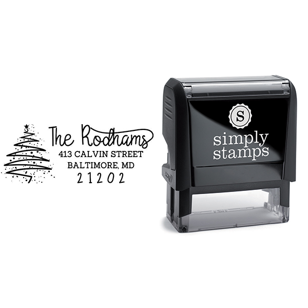 Rodham Script Christmas Tree Return Address Stamp Body and Design