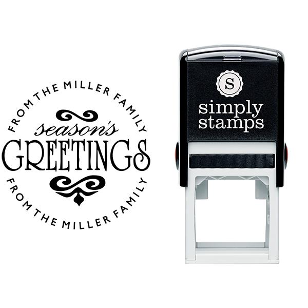 Season's Greetings Round Address Stamp Body and Imprint