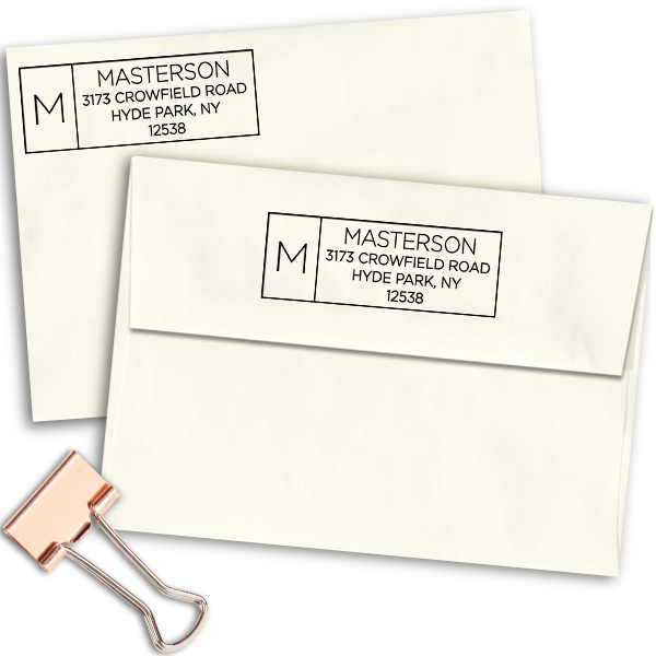 Masterson Minimalist Address Stamp Imprint Example