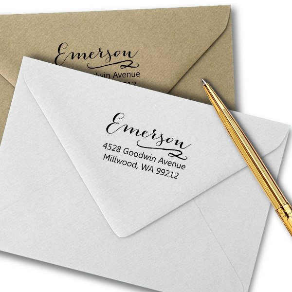 Emerson Swash Address Stamp Imprint Example