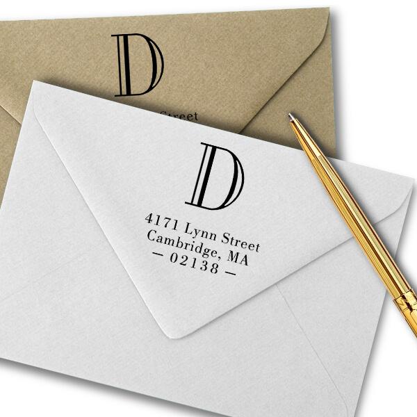 Cambridge Monogram Address Stamp Imprint Example