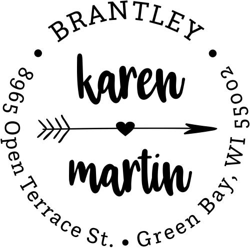 Lovers Arrow Trendy Address Stamp