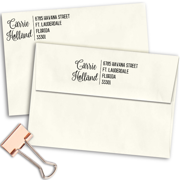 Holland Script Trendy Address Stamp Imprint Example