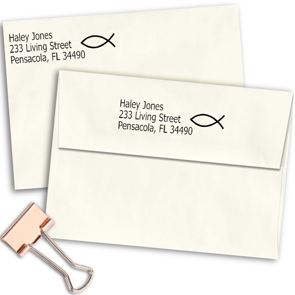 Jesus Fish Address Stamp Imprint Examples on Envelopes