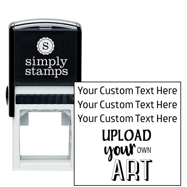 3 Line Custom Upload Art Bottom Rubber Stamp
