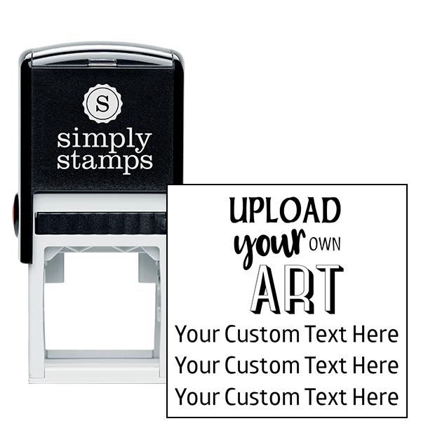 3 Line Custom Upload Art Top Rubber Stamp