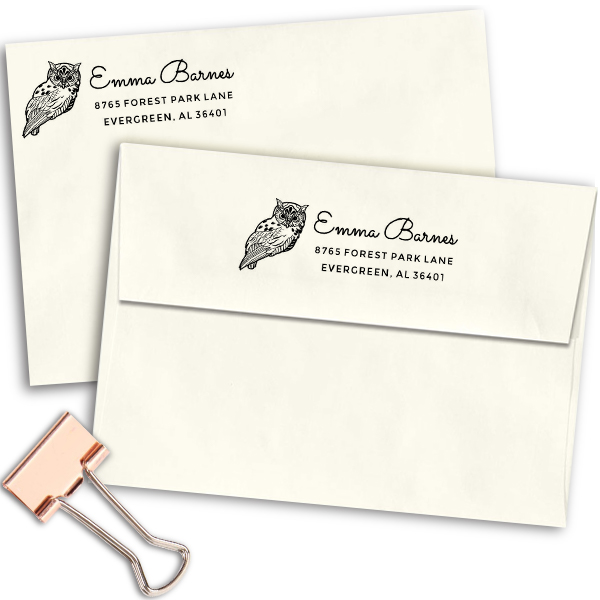 Barn Owl Animal Return Address Stamp Imprint Example