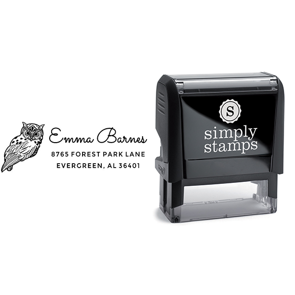 Barn Owl Animal Return Address Stamp Body and Design