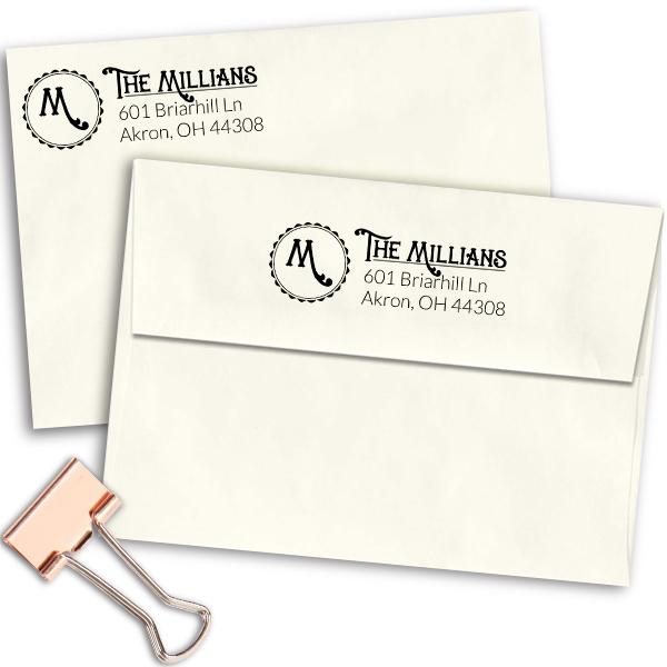 Whimsical Millian Monogram Address Stamp Imprint Example