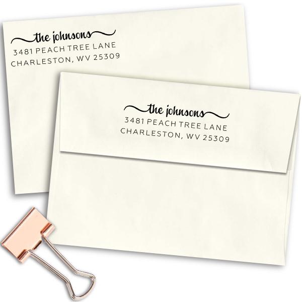 Charleston Return Address Stamp to Fit Wood Box Body and Design