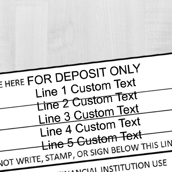 6 Line For Deposit Self Inking Stamp Imprint Example on Paper