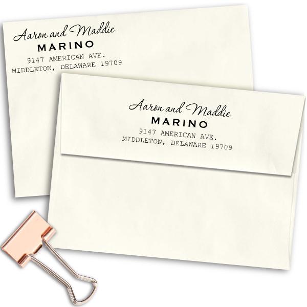 Marino Handwritten Address Stamp Imprint Examples on Envelopes