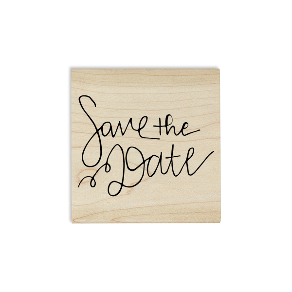 Hand Lettered Save the Date Stamp Design on Stamp Body