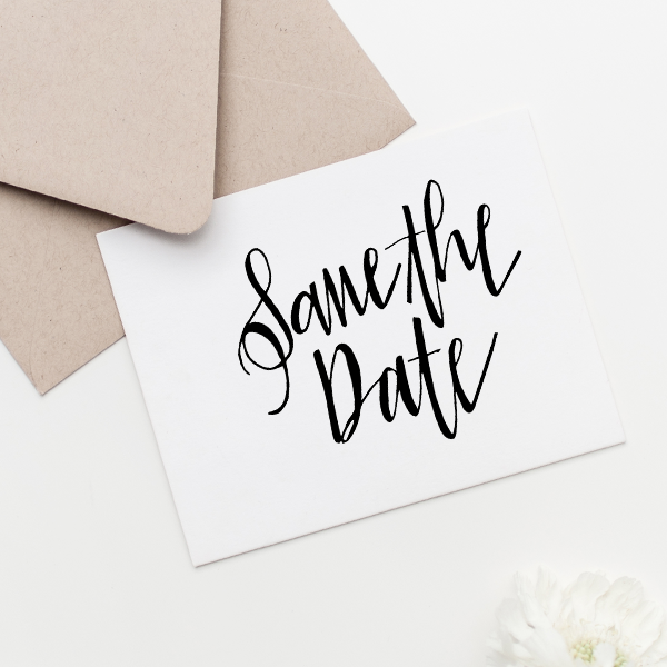 Glam Save the Date Stamp Imprint Example