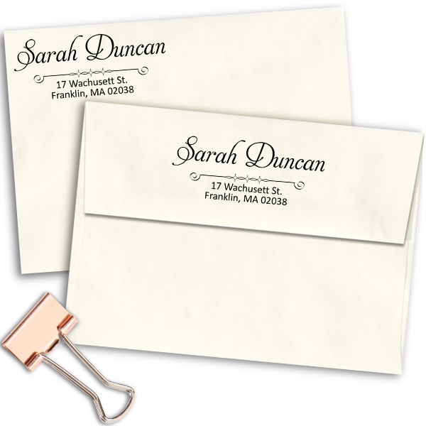 Duncan Handwritten Address Stamp Imprint Examples on Envelopes