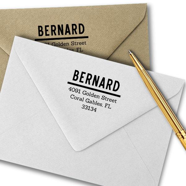 Bernard Bold Address Stamp Imprint  Example
