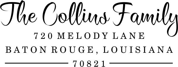 Collins Script Address Stamp